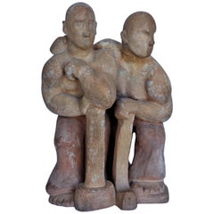 WPA Style Terracotta Sculpture of Working Men with Sledgehammers