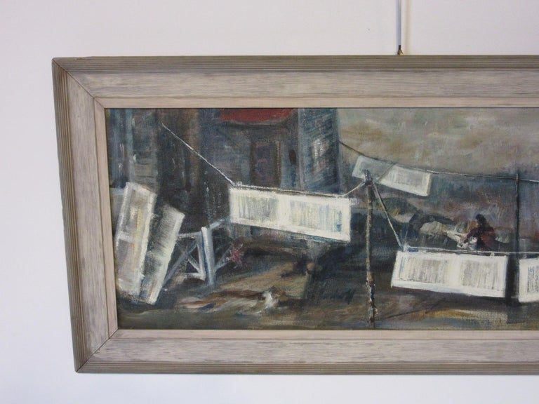 A painting in the style of the works of WPA artists depicting a person painting shutters done in polymer on masonite with a patinated wood frame from the period. On the verso there is a paper label - Cincinnati Biennial 1969 by artist John Imhoff,