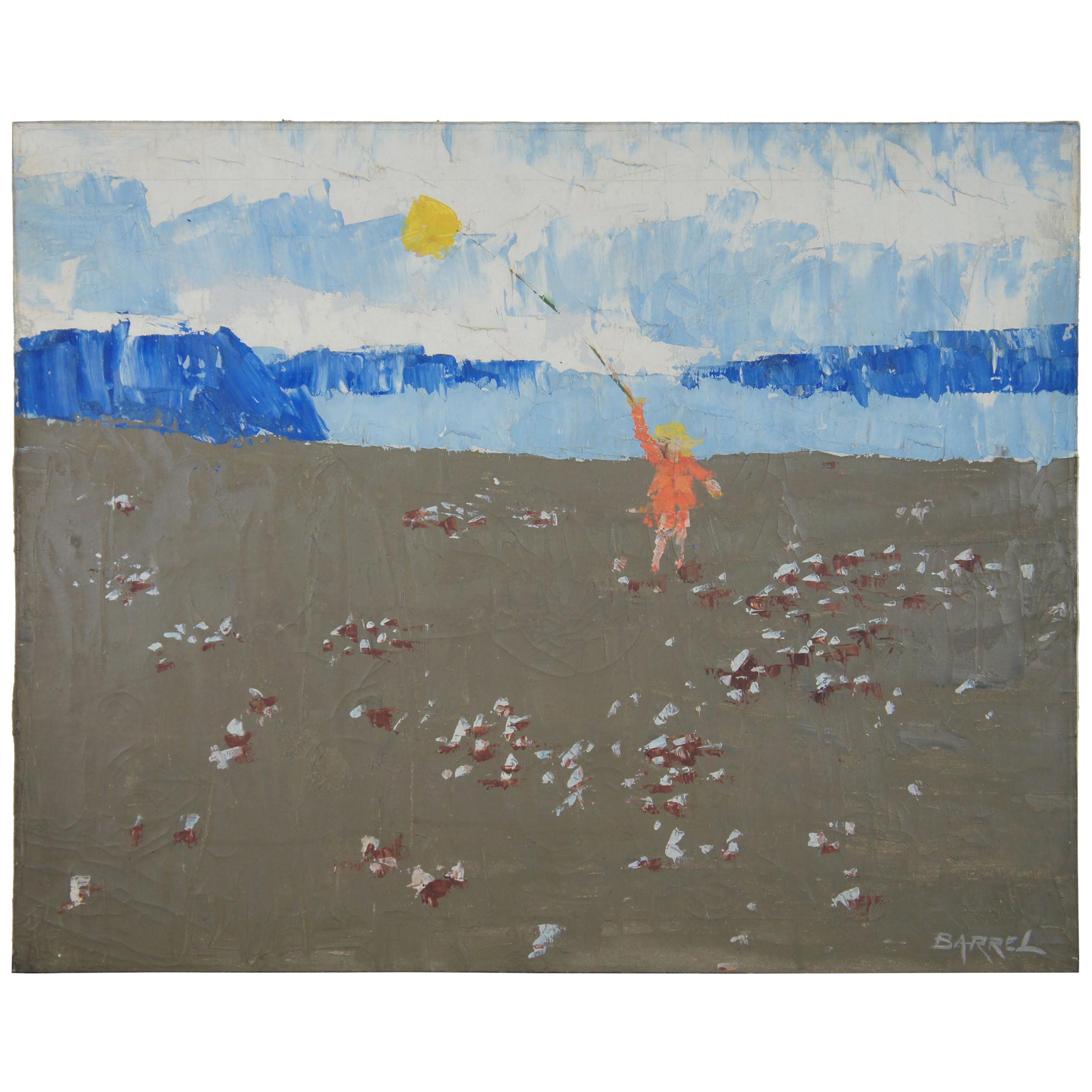 W.R. Barrel Oil on Canvas Impressionist Seascape Beach Child Listed Artist