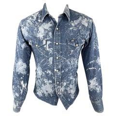 WRANGLER Size XS Blue Splattered Denim Snaps Long Sleeve Shirt