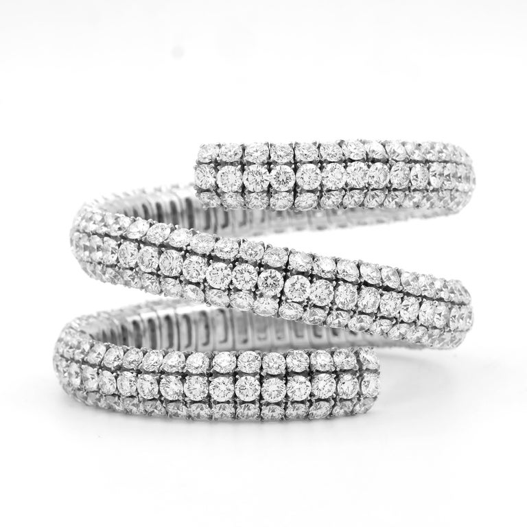 Round Cut Wrap Around Flex Bangle Bracelet with Diamonds For Sale
