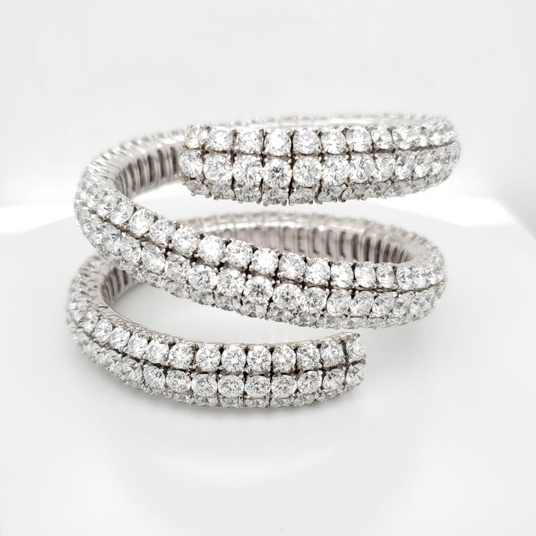 Women's Wrap Around Flex Bangle Bracelet with Diamonds For Sale