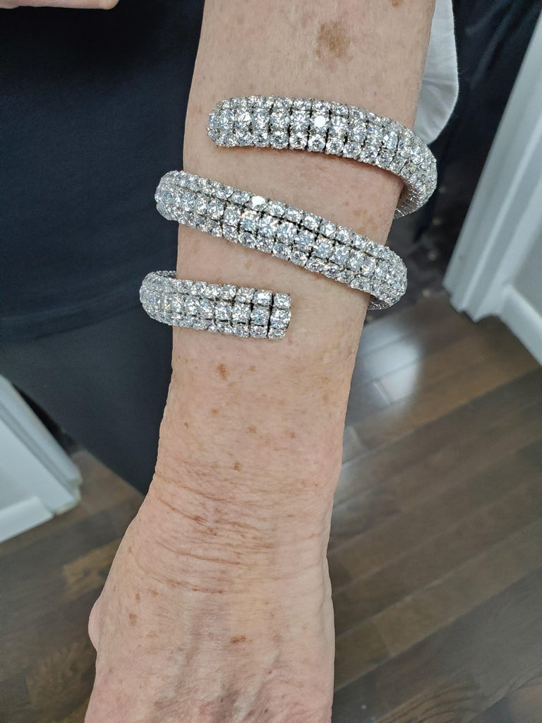 Wrap Around Flex Bangle Bracelet with Diamonds For Sale 1