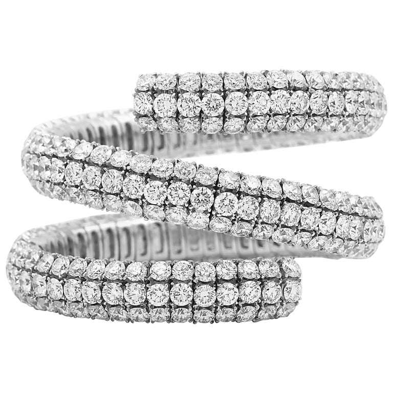 Wrap Around Flex Bangle Bracelet with Diamonds For Sale