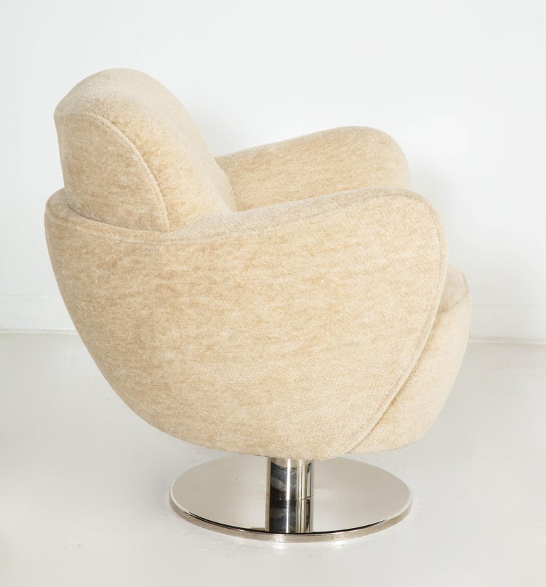 Brass Wrap Around Swivel Barrel Chair Offered by Vladimir Kagan Design Group For Sale