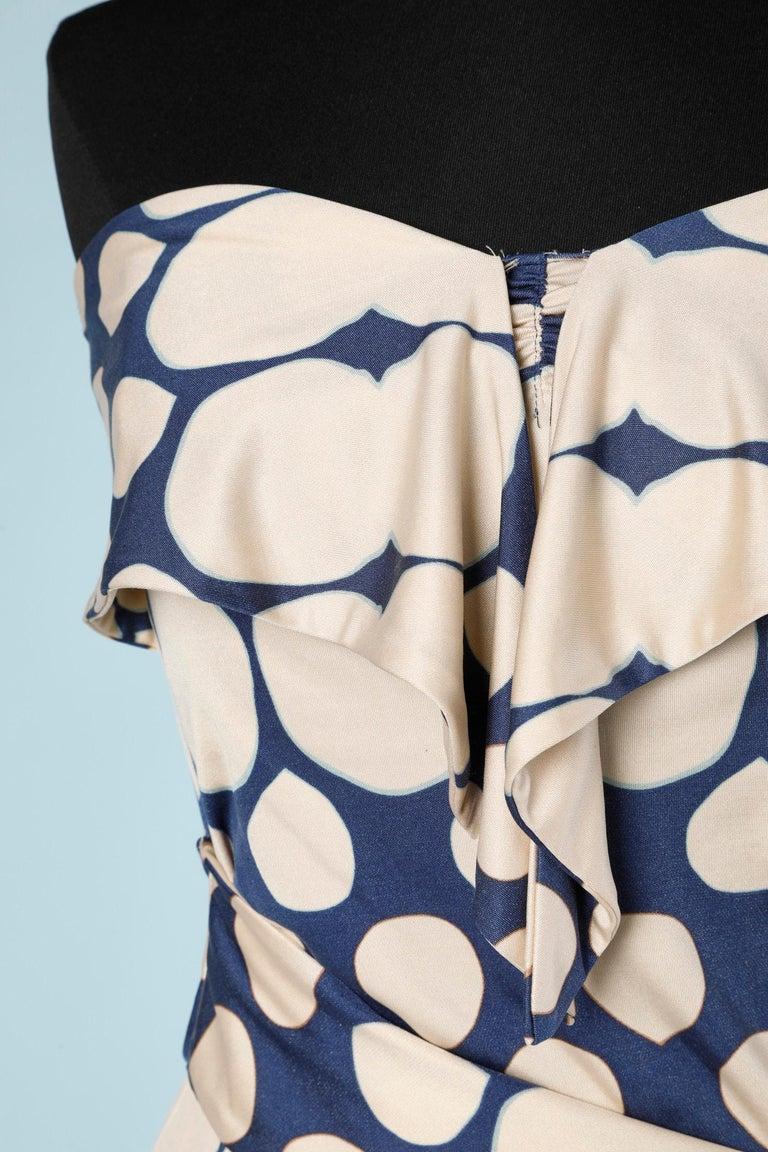 Beige Wrap bustier silk printed dress Diane Von Furstenberg  For Sale