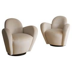 Wraparound Swivel Chair Attributed to Vladimir Kagan in Ivory Mohair
