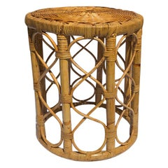 Wrapped Rattan Bamboo Stool in the Style of Rosenthal Netter, circa 1950