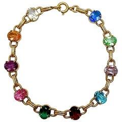 WRE 12K Gold Filled Harlequin Glass Link Bracelet circa 1950s