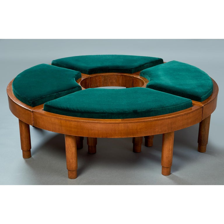 Italy, 1930s Exceptional grouping of four modernist stools that together form a large circle, and can be arranged at will. Separated one by one, to two by two as benches or the four as a stunning visual centerpiece. Dimensions: 46 diameter x 15