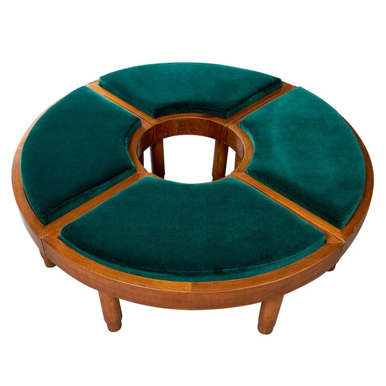 Mid-Century Modern Wreath of Four Polished Wood Stools, Italy, 1930s For Sale