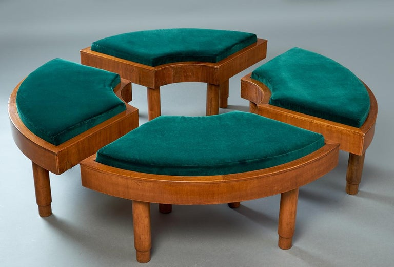 Italian Wreath of Four Polished Wood Stools, Italy, 1930s For Sale