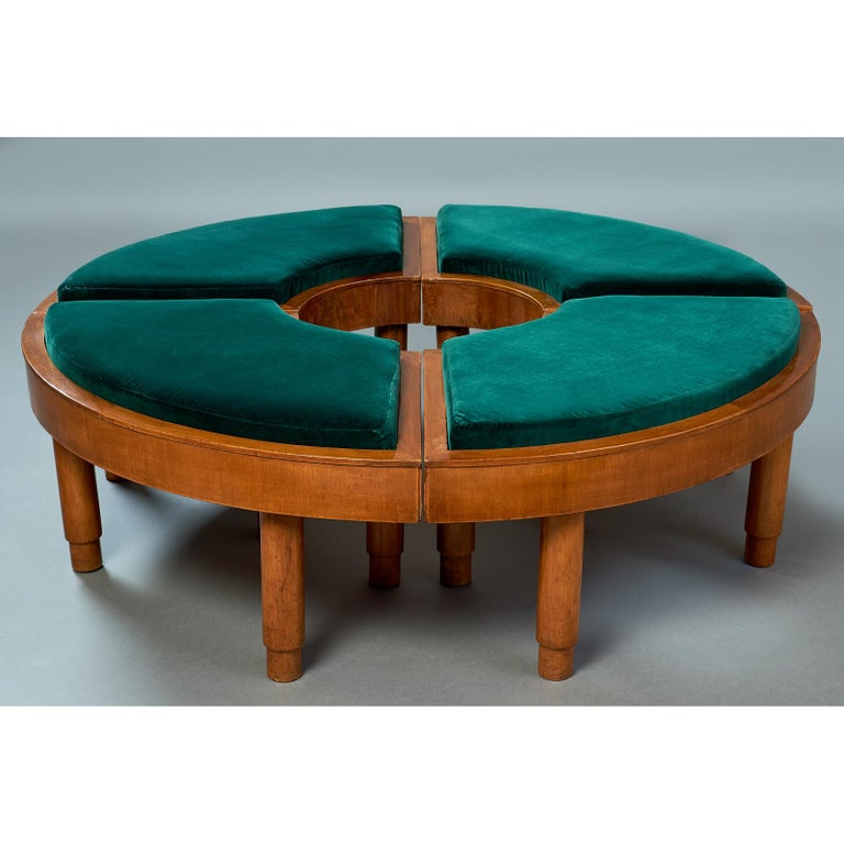 Wreath of Four Polished Wood Stools, Italy, 1930s In Good Condition For Sale In New York, NY