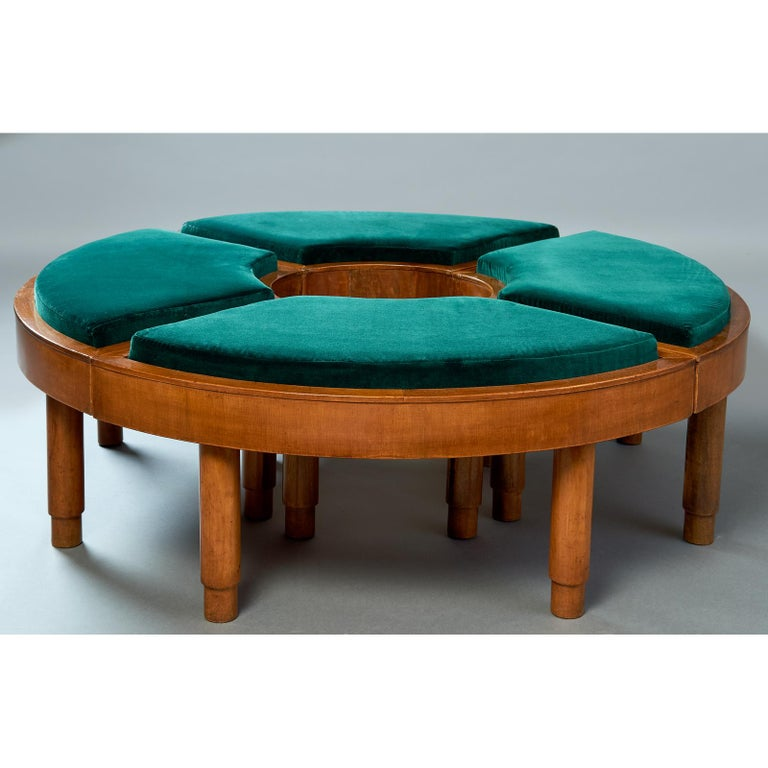 Mid-20th Century Wreath of Four Polished Wood Stools, Italy, 1930s For Sale