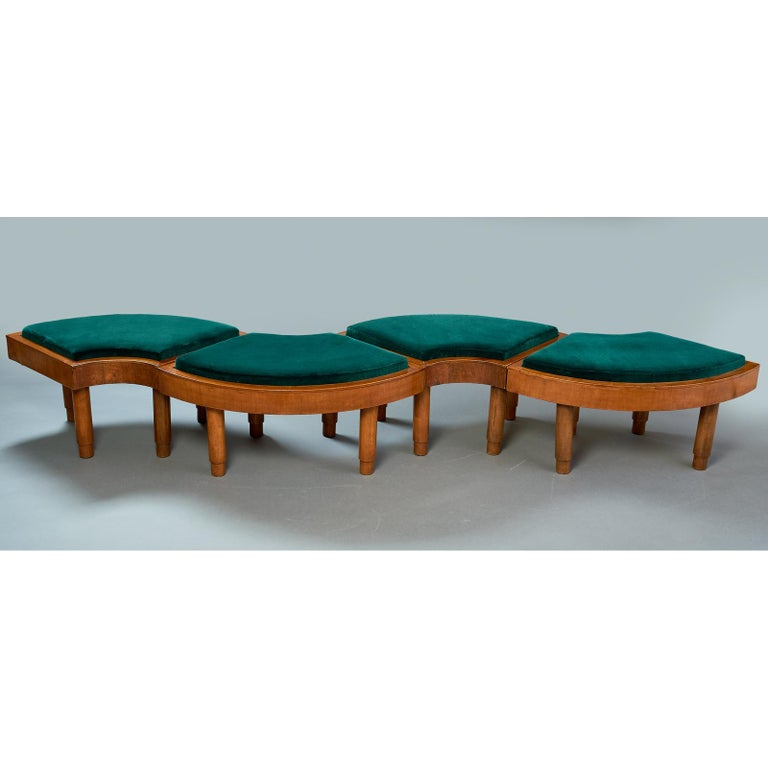 Wreath of Four Polished Wood Stools, Italy, 1930s For Sale 1