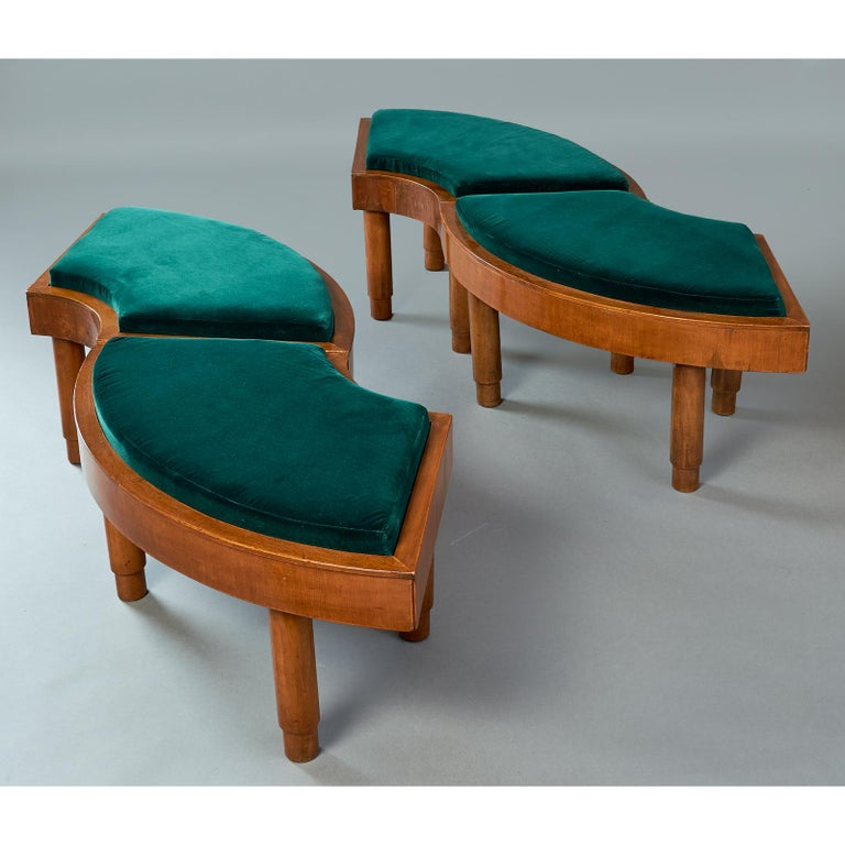 Wreath of Four Polished Wood Stools, Italy, 1930s For Sale 2
