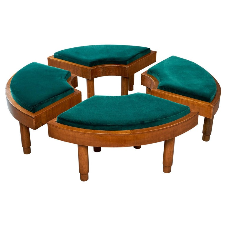 Wreath of Four Polished Wood Stools, Italy, 1930s For Sale