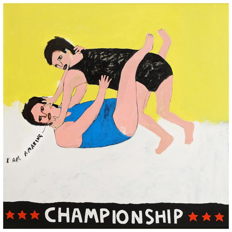 'Wrestle with Your Ego' Portrait Painting by Alan Fears Pop Art For Sale