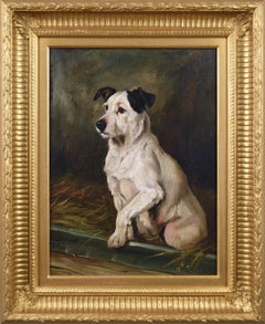 19th Century dog portrait oil painting of a Terrier