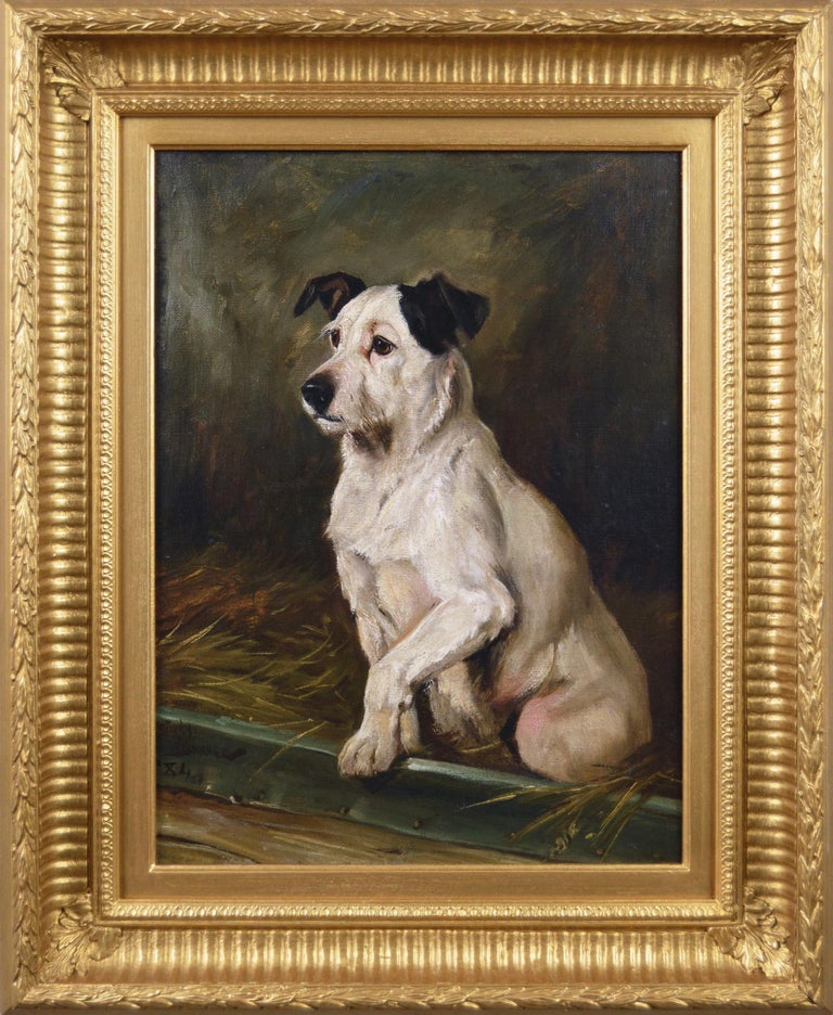 Portrait of a Parson Russell terrier, 1884, by Wright Barker, offered by Benton Fine Art