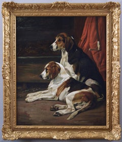 19th Century sporting dog portrait oil painting of foxhounds