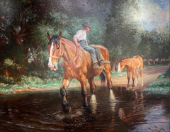 'Hesitation' Green Landscape Painting with Horse, foal and rider by water