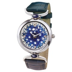 Wristwatch Gold White Diamond Sapphire Alligator Strap Designed by Roger Thomas