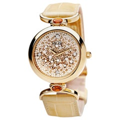 Wristwatch Gold White Diamonds Quart Alligator Strap Designed by Roger Thomas