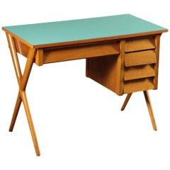 Writing Desk Beech Veneered Solid Wood Formica, Italy, 1950s
