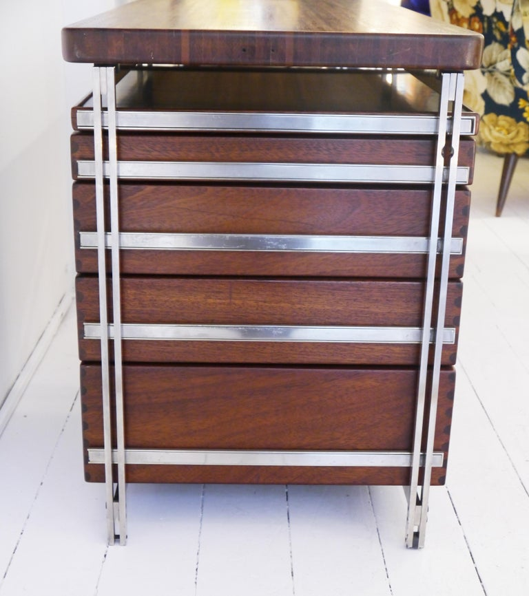 Steel Writing Desk by Jules Wabbes for Foncolin in 1957 For Sale
