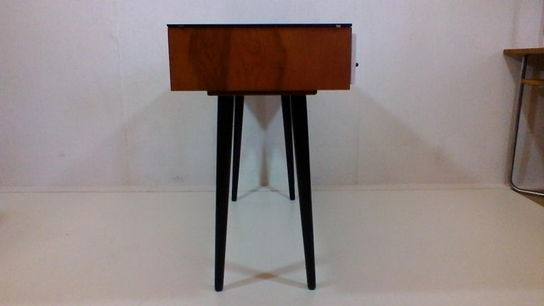 Glass Writing Desk Designed by Architect M. Požár, Retro Style Brusel, 1960s For Sale
