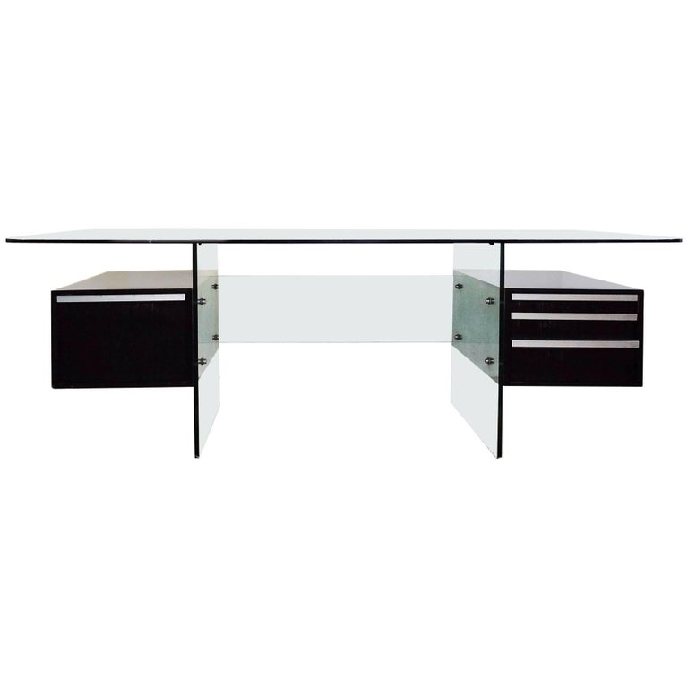 "Writing Desk ""Esteral"" by Xavier Marbeau, Glass and Chrome Brushed, circa 1970 For Sale"