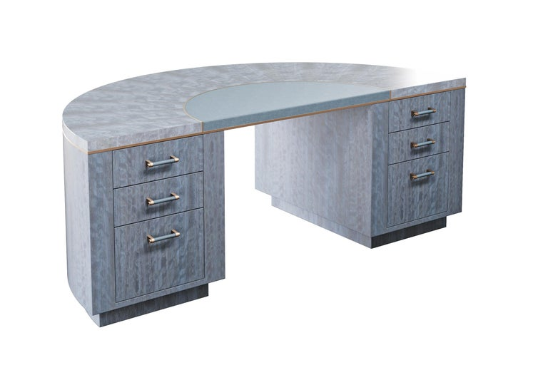 British Writing Desk Finished in Blue Figured Anegre, Leather and Antiqued Brushed Brass For Sale