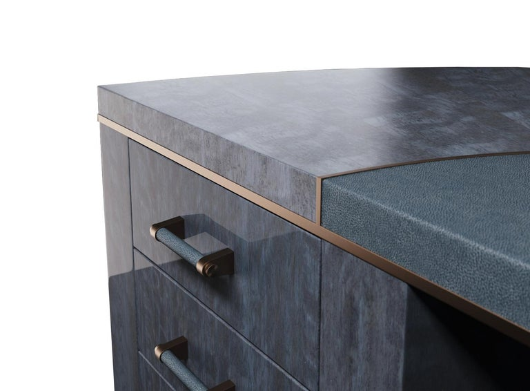 Veneer Writing Desk Finished in Blue Figured Anegre, Leather and Antiqued Brushed Brass For Sale