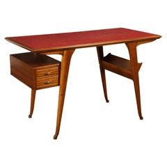 Writing Desk Formica Beech Veneer Solid Wood, Italy, 1950s