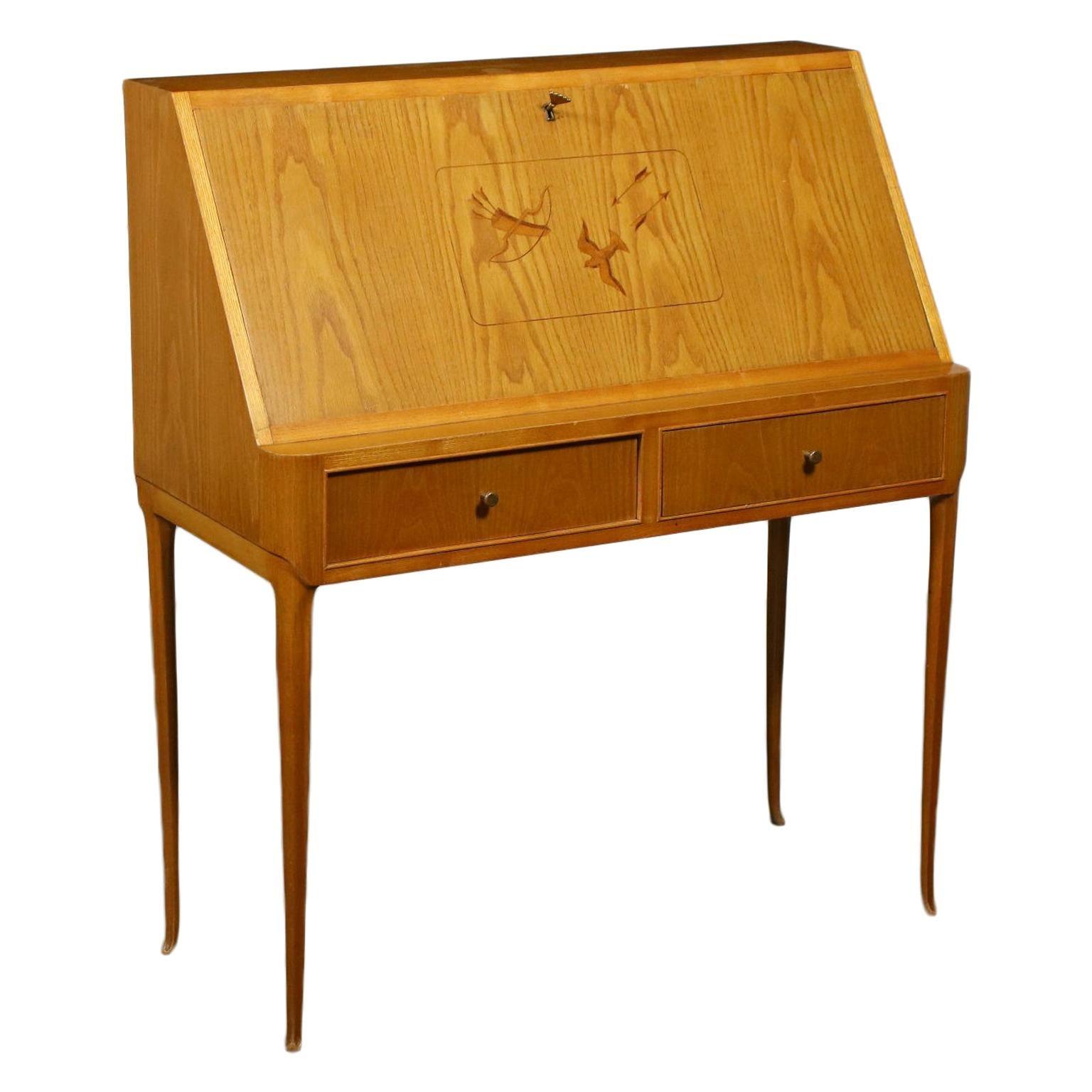 Writing Desk Sessile Oak Veneer, Italy, 1950s