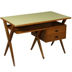 Writing Desk Solid Walnut Formica Top Vintage Manufactured in Italy, 1950s
