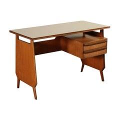 Writing Desk Teak Veneer Vintage, Italy, 1960s