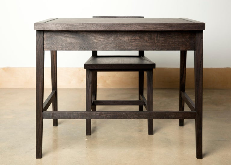 Writing or Computer Desk and Chair in Blackened Oakwood by Alabama Sawyer For Sale 2