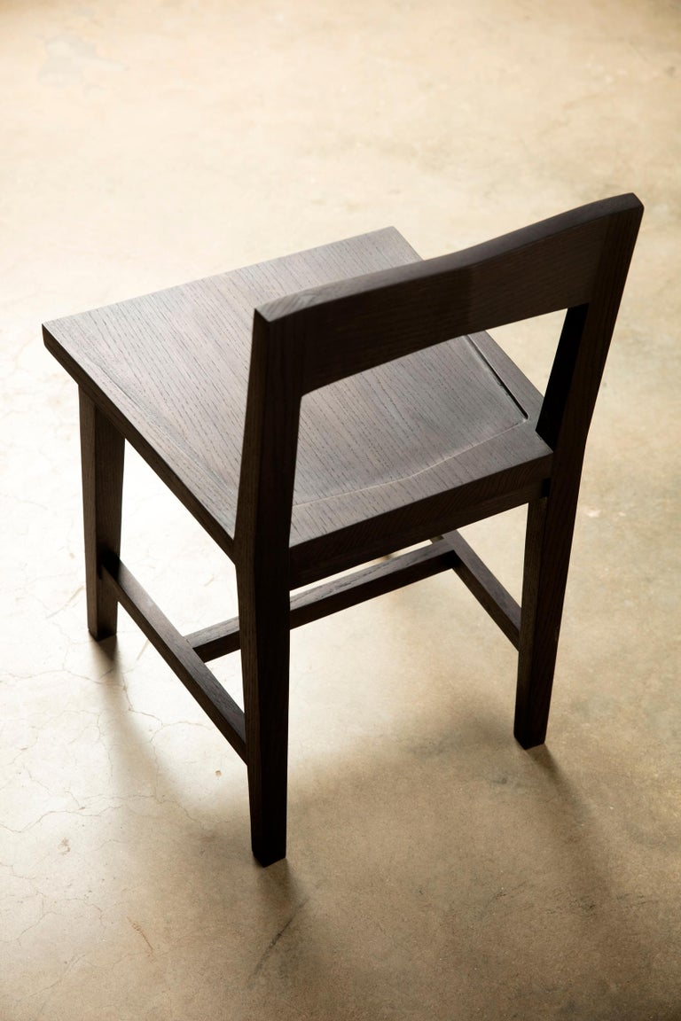 Writing or Computer Desk and Chair in Blackened Oakwood by Alabama Sawyer For Sale 3