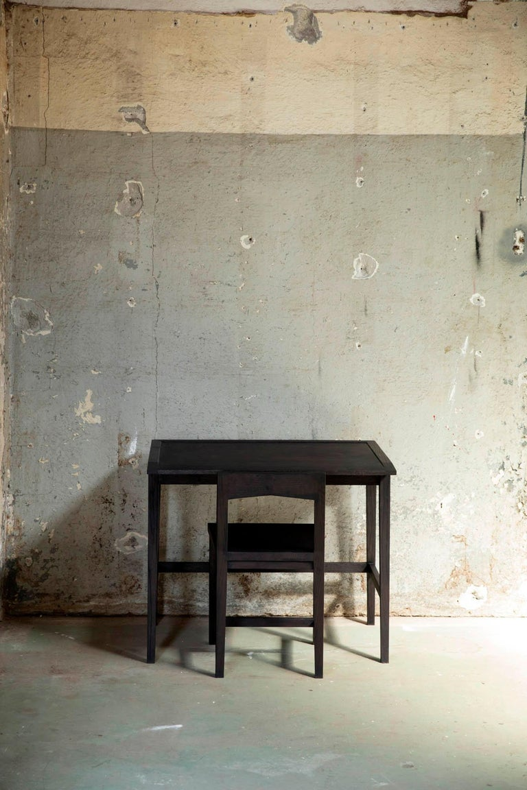 Writing or Computer Desk and Chair in Blackened Oakwood by Alabama Sawyer For Sale 4