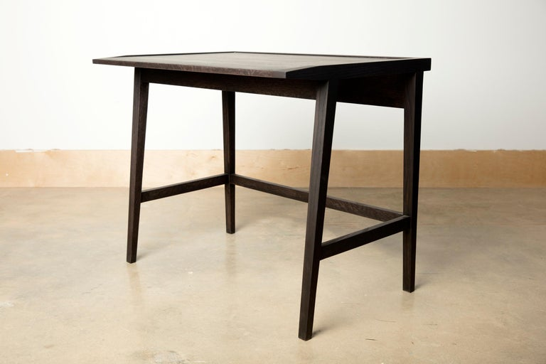 We handcraft this Classic blackened oakwood writing desk and chair set with hardwoods from Birmingham's urban forest. For your home office, computer desk or a place to work from home, comfortable and focused, on a novel or a grocery list. Urban
