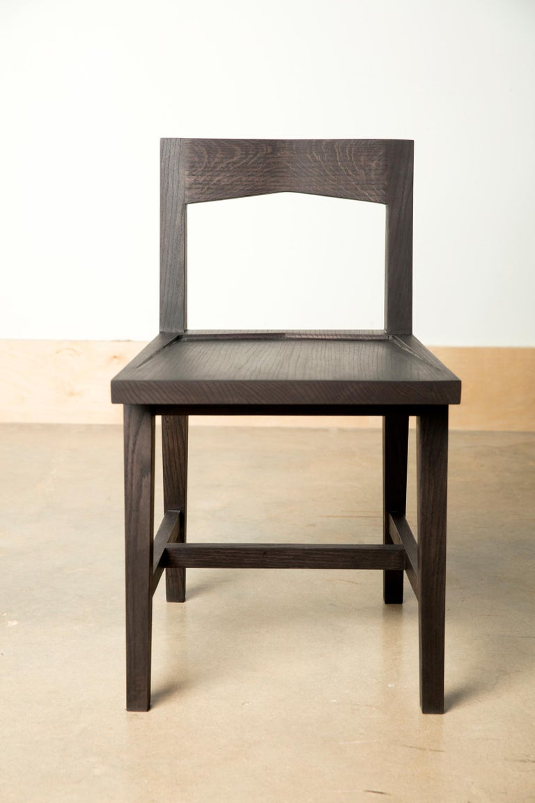American Craftsman Writing or Computer Desk and Chair in Blackened Oakwood by Alabama Sawyer For Sale