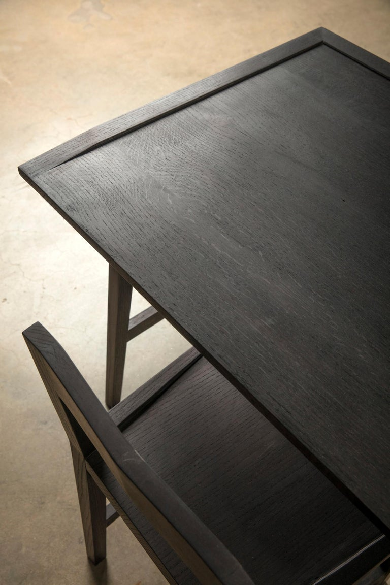 Ebonized Writing or Computer Desk and Chair in Blackened Oakwood by Alabama Sawyer For Sale