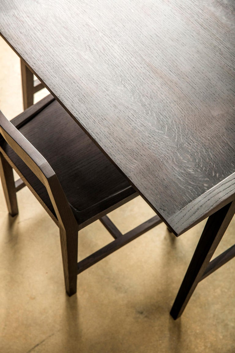 Contemporary Writing or Computer Desk and Chair in Blackened Oakwood by Alabama Sawyer For Sale