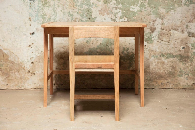 American Writing or Computer Desk and Chair in Natural Oakwood by Alabama Sawyer For Sale