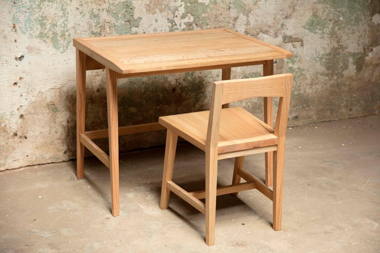 Woodwork Writing or Computer Desk and Chair in Natural Oakwood by Alabama Sawyer For Sale