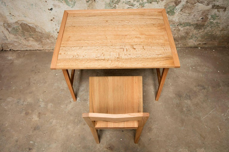 Contemporary Writing or Computer Desk and Chair in Natural Oakwood by Alabama Sawyer For Sale