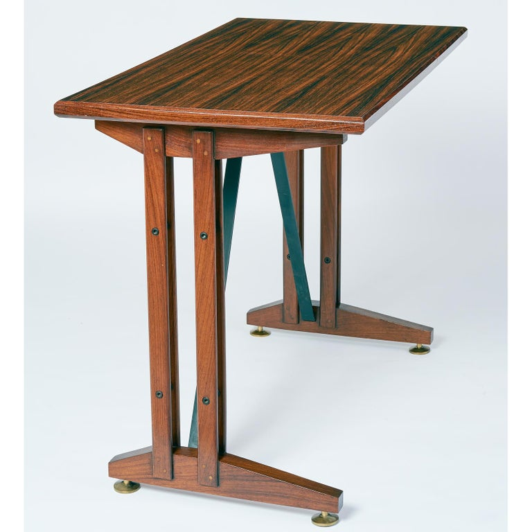 Italian  Writing or Laptop Polished Wood Table or Desk, Italy, 1950s For Sale