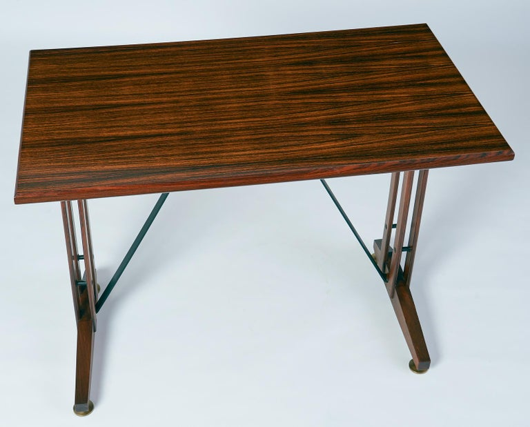 Mid-20th Century  Writing or Laptop Polished Wood Table or Desk, Italy, 1950s For Sale